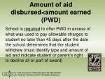 amount of aid disbursed amount earned pwd