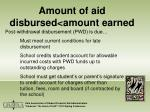 amount of aid disbursed amount earned29