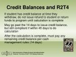 credit balances and r2t4