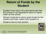 return of funds by the student