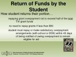 return of funds by the student27