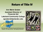 return of title iv