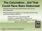 the calculation aid that could have been disbursed