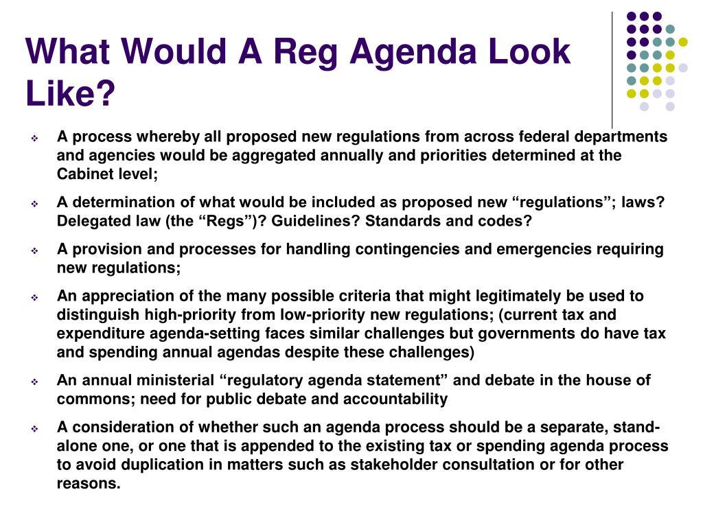 What Would A Reg Agenda Look Like?
