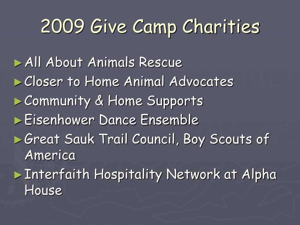 2009 Give Camp Charities