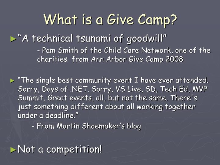 What is a give camp