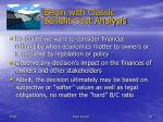 begin with classic benefit cost analysis
