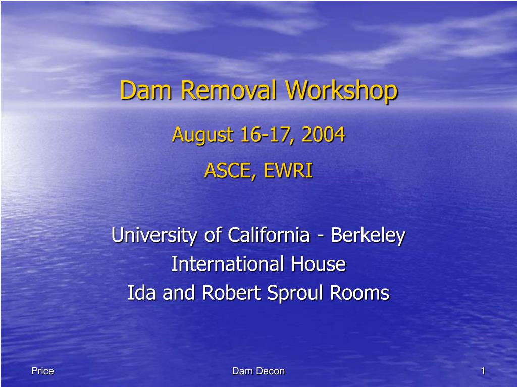 dam removal workshop august 16 17 2004 asce ewri l.