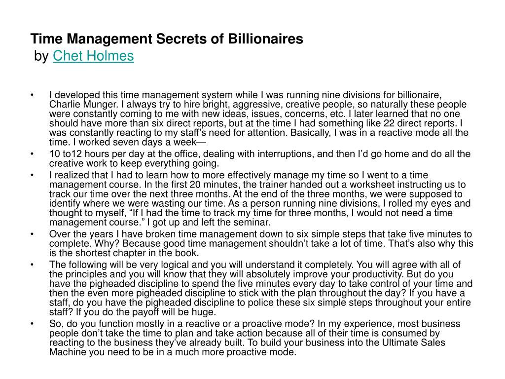 time management secrets of billionaires by chet holmes l.