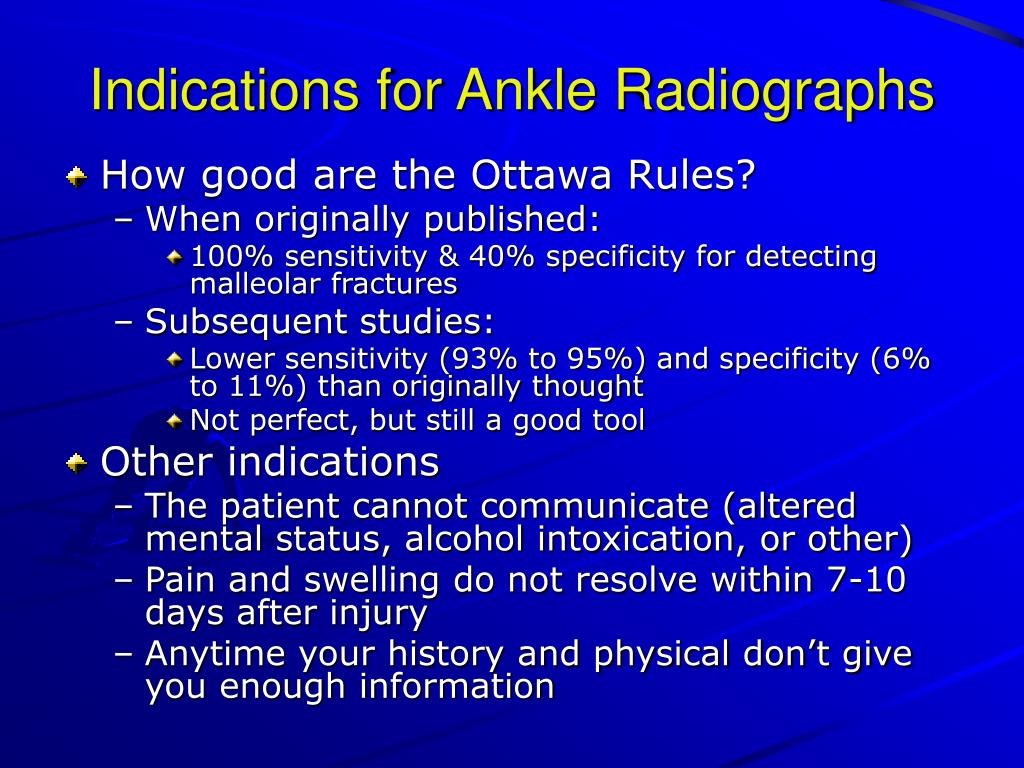 Indications for Ankle Radiographs