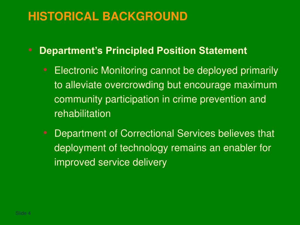 Department's Principled Position Statement