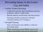 preventing injury in the lower leg and ankle