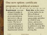 one new option certificate programs in political science