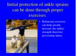 initial protection of ankle sprains can be done through proper exercises