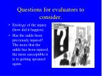 questions for evaluators to consider