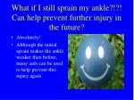 what if i still sprain my ankle can help prevent further injury in the future