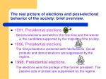 the real picture of elections and post e lectoral behavior of the society brief overview
