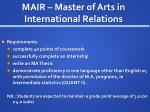 mair master of arts in international relations