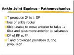 ankle joint equinus pathomechanics