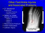 other foot ankle injuries and associated problems