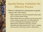 agenda setting guidelines for effective practice
