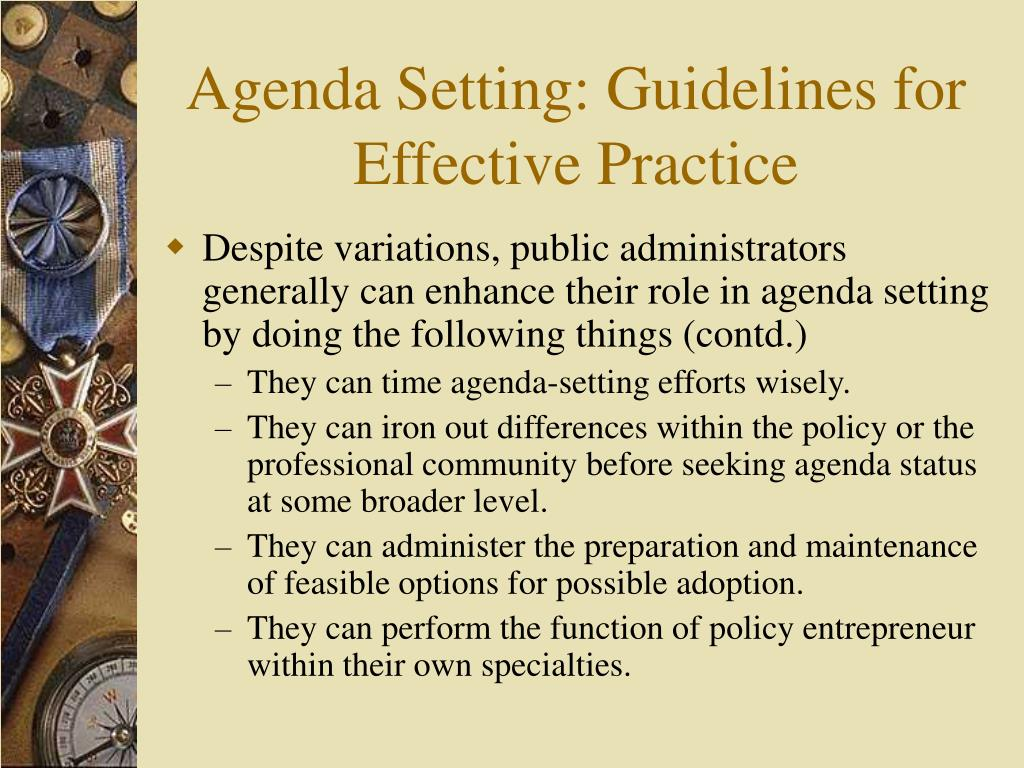 Agenda Setting: Guidelines for Effective Practice