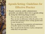 agenda setting guidelines for effective practice13