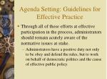 agenda setting guidelines for effective practice14