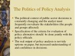 the politics of policy analysis25
