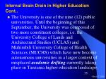 internal brain drain in higher education cont