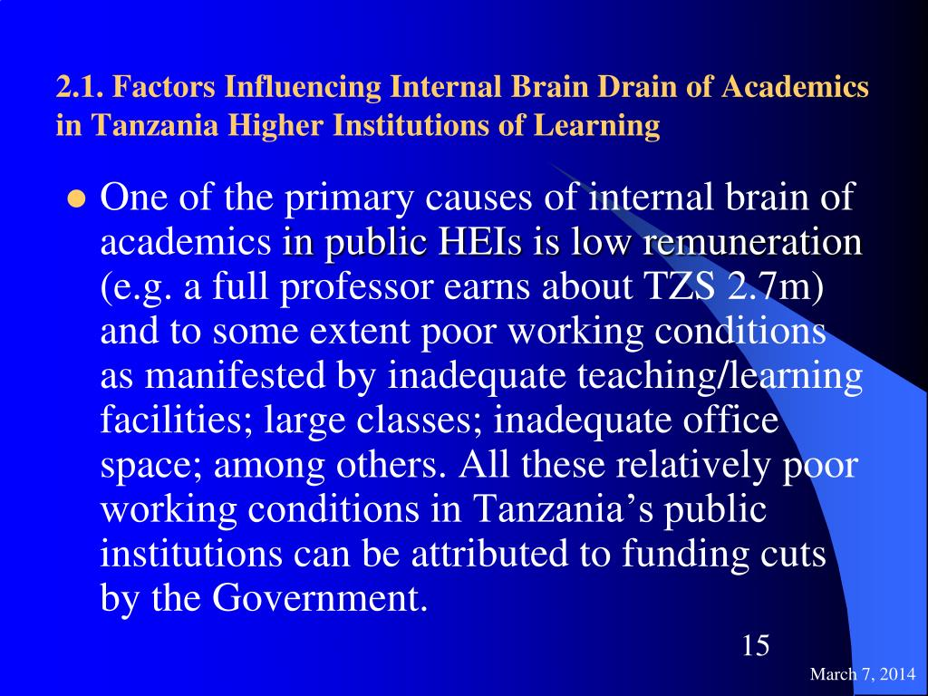 2.1. Factors Influencing Internal Brain Drain of Academics in Tanzania Higher Institutions of Learning