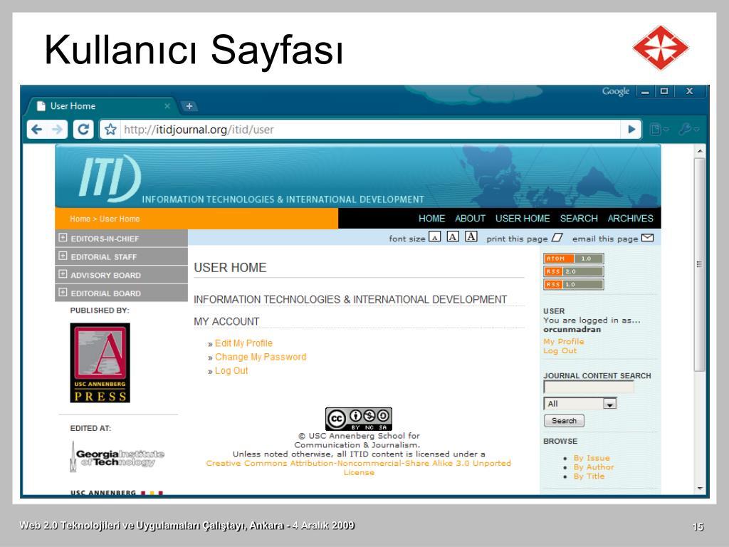 Kullanıcı Sayfası