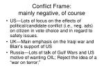 conflict frame mainly negative of course