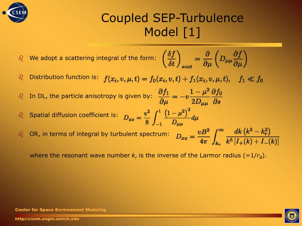 Coupled SEP-Turbulence Model [1]