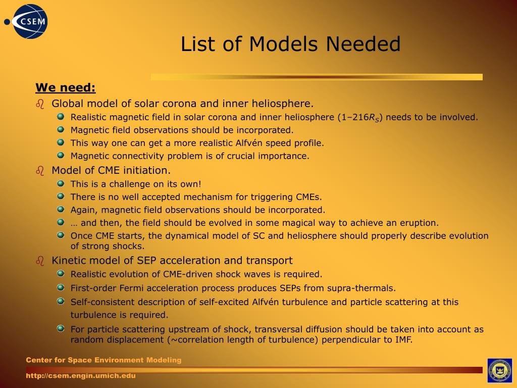 List of Models Needed