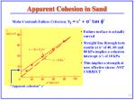 apparent cohesion in sand