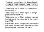 federal incentives for investing in manaus free trade zone mftz