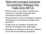 state and municipal incentives for investing in manaus free trade zone mftz