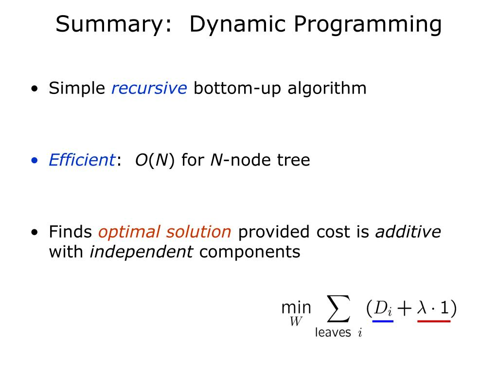 Summary:  Dynamic Programming