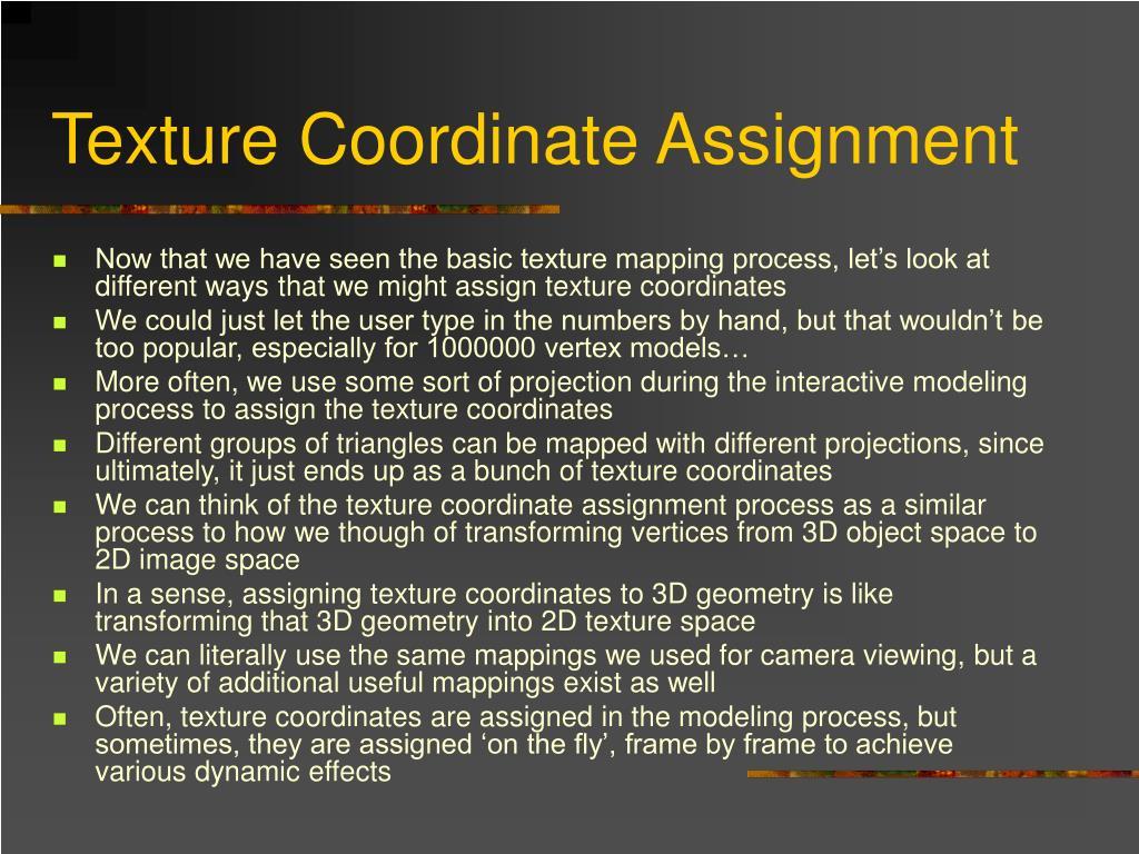 Texture Coordinate Assignment