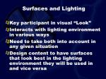 surfaces and lighting