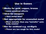 use in games