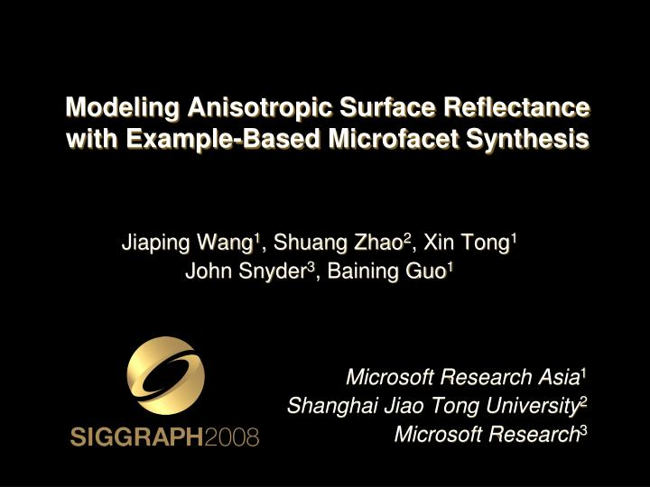Modeling anisotropic surface reflectance with example based microfacet synthesis