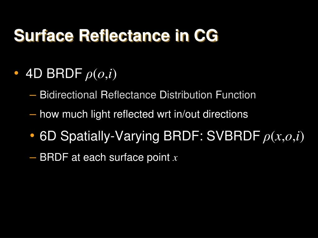 Surface Reflectance in CG