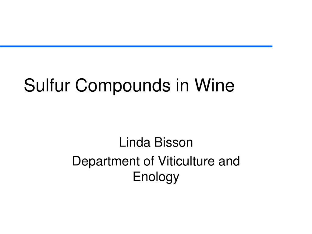 sulfur compounds in wine l.