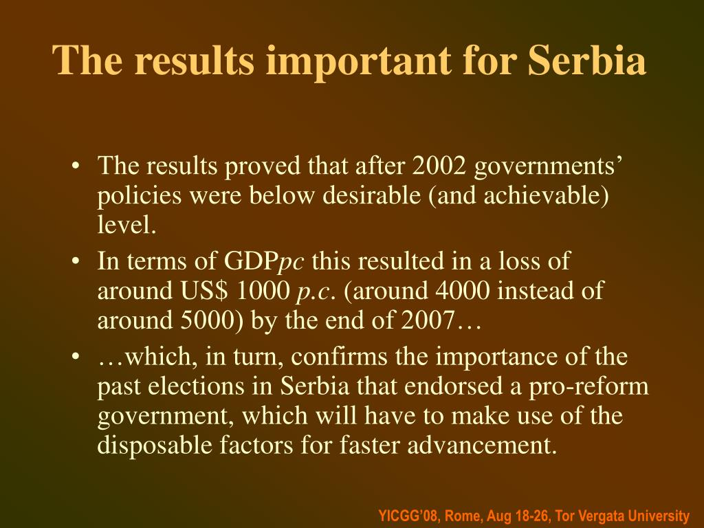 The results important for Serbia