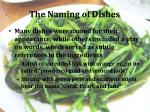 the naming of dishes