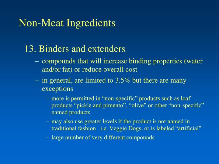Non meat ingredients