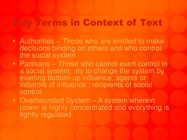 Key terms in context of text