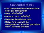 configuration of ions